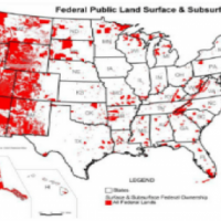 This image shows a map of the United states with all federally-owned land (undifferentiated by agency) shown in red.