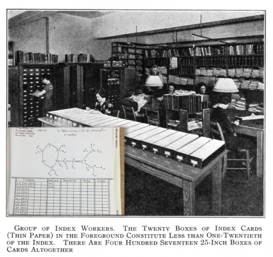 """""""Index workers"""" in 1938, plus a paper form used to computerize molecular identity"""